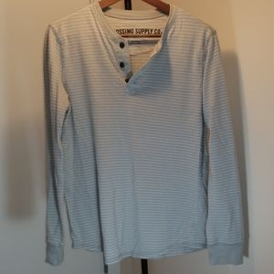 Gray and white striped Henley